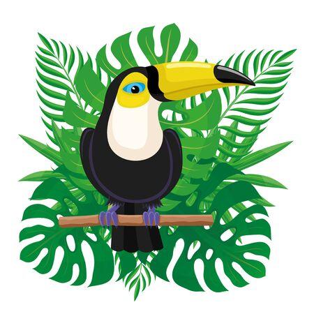 Toucan bird sitting on a branch.