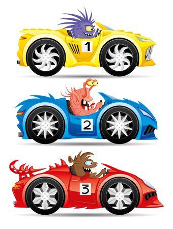 Conjunto de monstruos en coches de carreras.