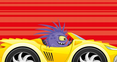 Monster in a car on a red background.