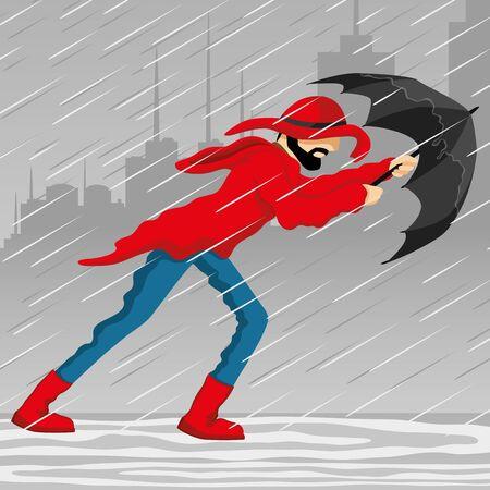 A man with an umbrella. Vektorgrafik