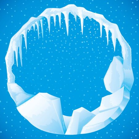 Round frame of ice and icicles on a blue background.