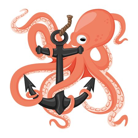 Cheerful octopus with an anchor.