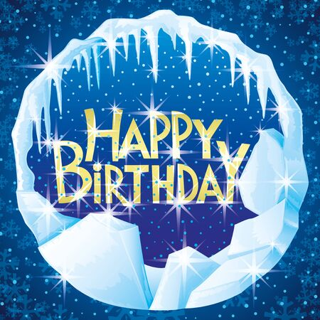 Winter ice banner with happy birthday greetings.