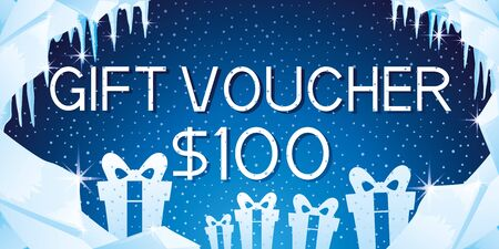 Gift voucher with gift boxes.