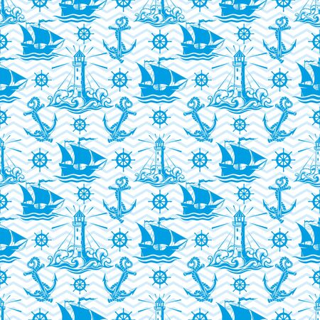 Seamless pattern with lighthouse ships and anchors. Stok Fotoğraf - 130832691