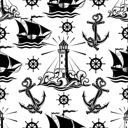 Seamless pattern with lighthouse ships and anchors on a white background. Çizim
