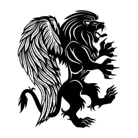 Black lion with wings on a white background.