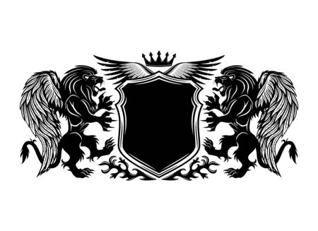 Black sign with winged lions and a shield.