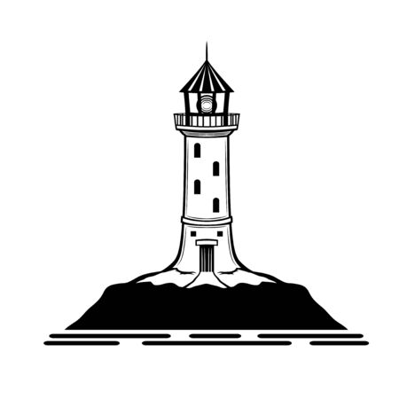 Black lighthouse sign on a white background.