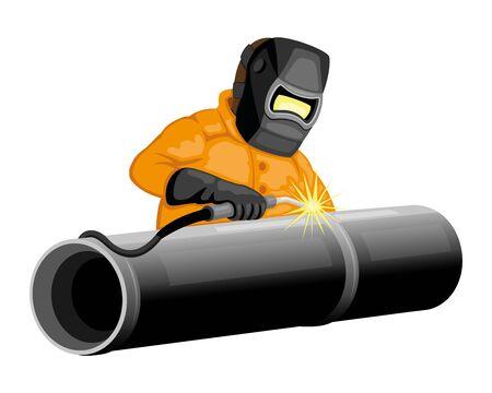 Welder welds the pipeline.