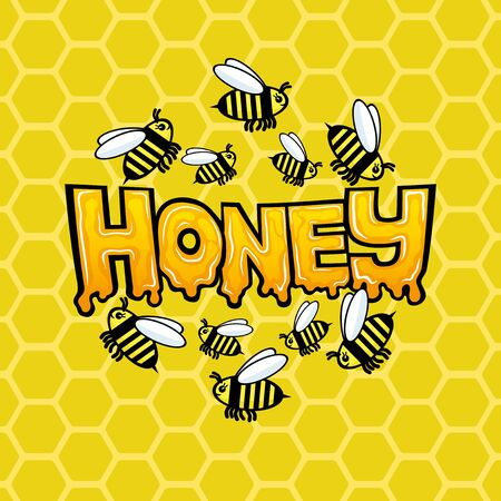 Honey sign with a bee on a background of honeycombs.