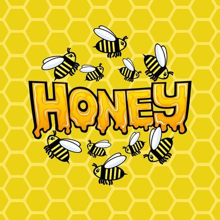 Signe de miel avec une abeille sur fond de nids d'abeilles. Vecteurs