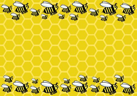 Horizontal banner with bee honeycombs and bees.