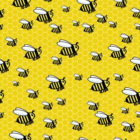 Seamless pattern with honey bees and bee honeycombs. Ilustração