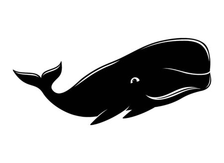 Black whale sign on a white background. Stock Illustratie