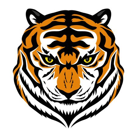 Angry tiger sign on a white background.