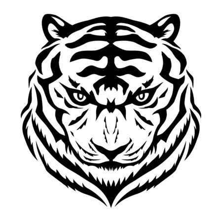 Black tiger sign on a white background.