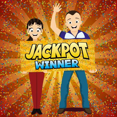 Jackpot lottery winner red banner with happy couple.