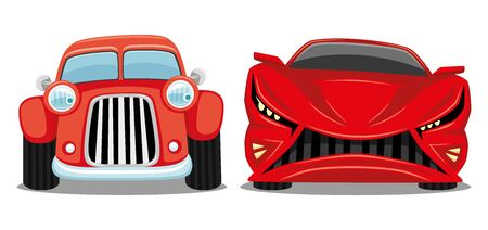 Red retro car and modern car on a white background.
