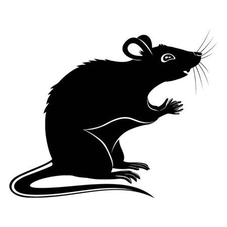 Black rat sign on a white background.