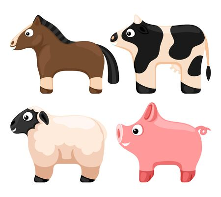 Farm animals set on a white background.