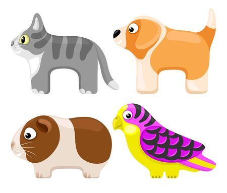Set of toy pets on a white background.