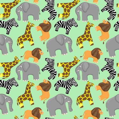 Seamless pattern with cute African animals on a green background.