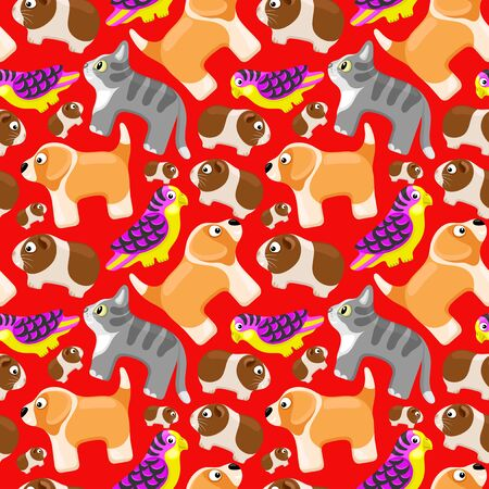 Seamless pattern with domestic animals on a red background.