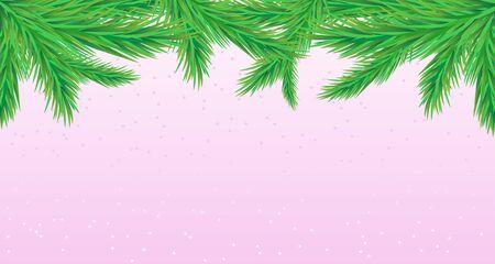 Kerstmisachtergrond met dennentakken op een blauwe winterachtergrond.