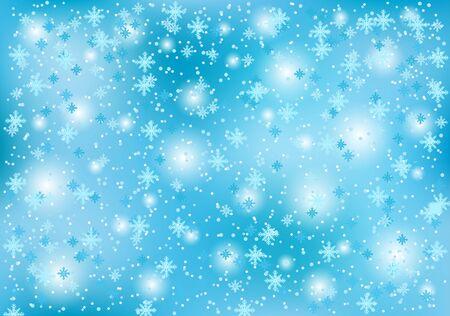 Fondo de Navidad de invierno con copos de nieve sobre un fondo azul.