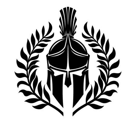 Schwarzer spartanischer Helm auf weißem Hintergrund. Vektorgrafik