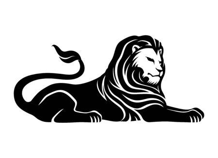 Black lion sign on a white background. Archivio Fotografico - 137857302