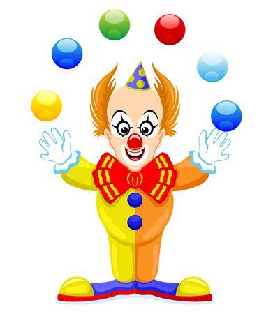 Zabawny clown żongluje kulkami na białym tle. Ilustracje wektorowe