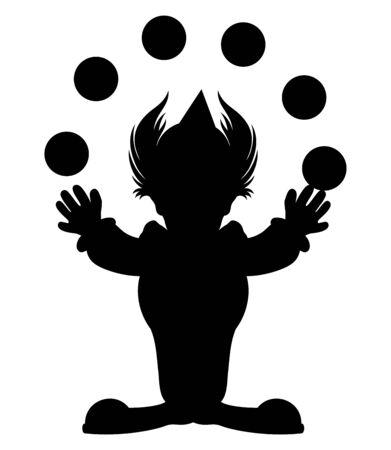 Cartoon silhouette of a clown juggling balls.