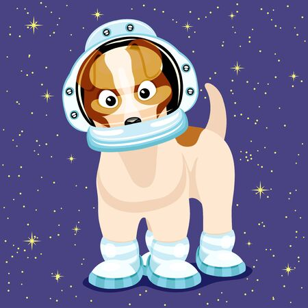 Cute astronaut dog on a starry purple background. Illustration