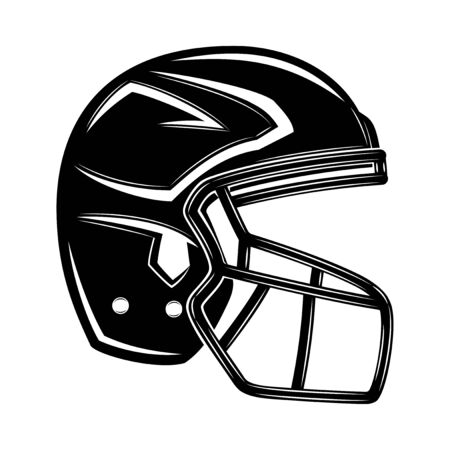 Black helmet for american football on a white background.