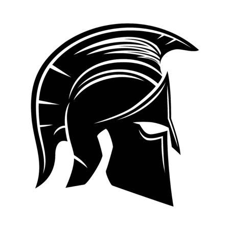 Black Spartan helmet on a white background. Stock Illustratie