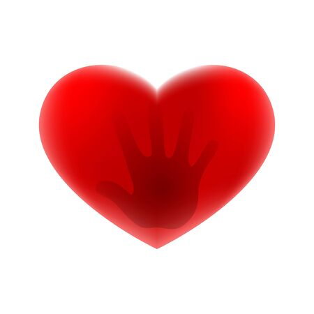 Red heart icon on a white background. Ilustracja
