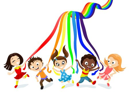 Children and rainbow on a white background. Ilustrace