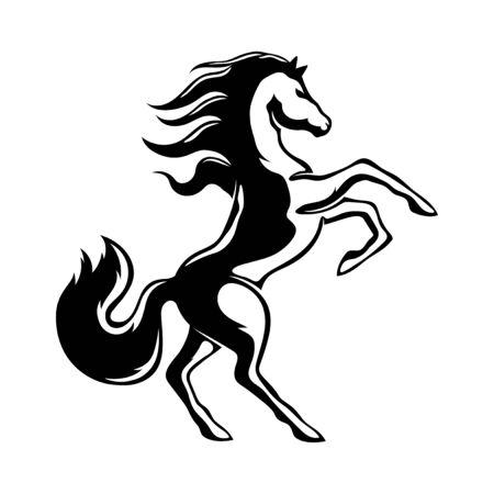 Black horse sign on a white background. Ilustración de vector