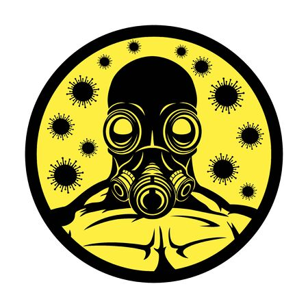 Gas mask and viruses sign on a white background.
