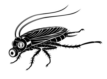 Black cockroach in gas mask on a white background.
