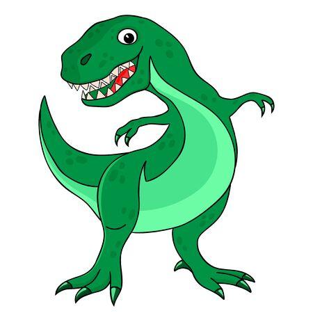 Cheerful green dinosaur tyrannosaurus on a white background.