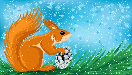 Cute squirrel with a fir cone sits on a branch on a winter background. 向量圖像