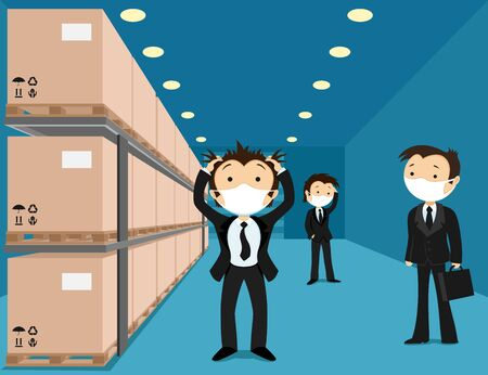 Business people in medical masks panic in a warehouse with boxes.