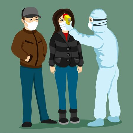Medic measures body temperature in people in protective masks.