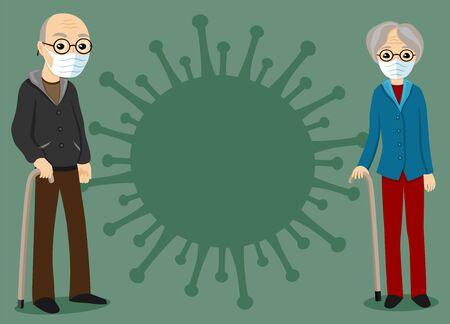 Elderly couple and a sign of the virus on a green background. Illusztráció