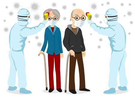 Doctors measure the body temperature of an elderly couple in protective masks. Illusztráció