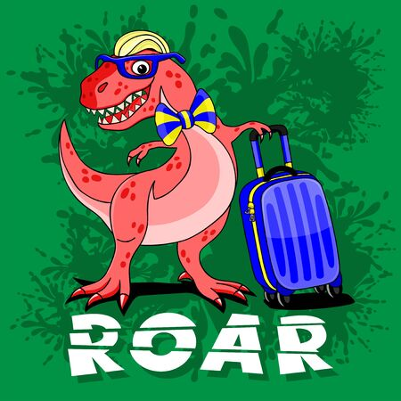Funny dinosaur with a suitcase on a green background.