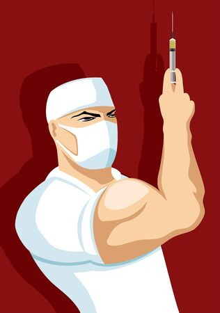 Strong doctor with a syringe in his hand on a red background.